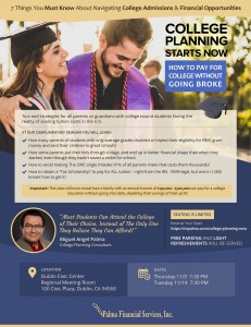 College Planning Seminar – Nov 9th OR Nov 14 2017